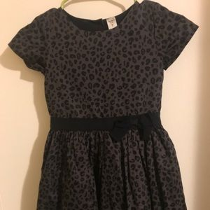 Little girls leopard print dress with bow